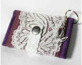 Simple Wallet - Purple with Wide White lace, and Silver Bird Charm