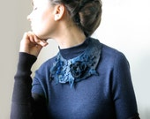 Frida Kahlo inspired Blue Meadow -- Felted Neck Piece -- made from wool