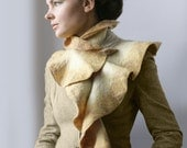 Flax Waves with Pin -- Nuno Felted Wool OOAK -- Wearable Art
