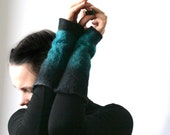 2 Teal Black Wrist Cuffs/Arm Warmers - Hand felted wool