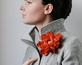 Persimmon Dahlia  -- Felt Flower Brooch -- Hand felted wool -- size Large