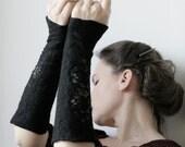 2 Black Wrist Cuffs/Arm Warmers --  - Hand felted wool