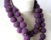 Chunky  Purple Berries -- Chunky Long Felt Necklace -- made from wool