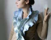 Bleu de France Blue Scarf / Shawl -- Hand Felted Neck Piece -- made from wool OOAK - Wearable Art