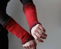 2 Red Wrist Cuffs / Arm Warmers -  Hand felted wool