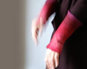 2 Carmine Wrist Cuffs/Arm Warmers --  - Hand felted wool