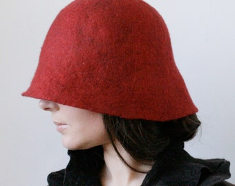 Carnelian Cloche Hat -- Hand Felted Wool -- Size Medium