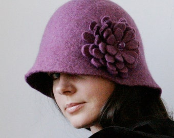 Heliotrope Cloche Hat -- Hand Felted Wool -- Size Medium