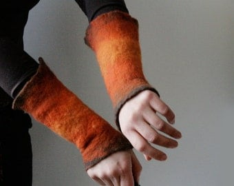 2 Orange Wrist Cuffs/Arm Warmers --  - Hand felted wool