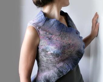 Asymmetric Evening Lake Bolero - Hand Felted made from wool OOAK - Wearable Art