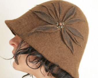 Sepia Brown Cloche Hat -- Hand Felted Wool -- Size Medium / Large