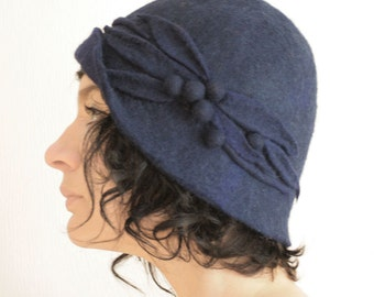 Midnight Blue Cloche Hat -- Hand Felted Wool -- Size Medium