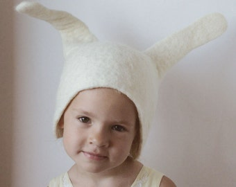 Bunny Hat -- Hand Felted Wool -- Size Small