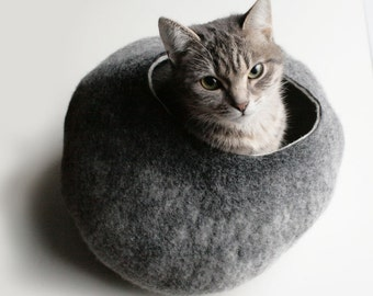 Cat Nap Cocoon Cave Bed House Vessel Furniture - Hand Felted Wool - Crisp Contemporary Modern Design - READY TO SHIP Warm Gray Stone Bubble