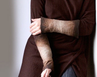2 Tan Brown Wrist Cuffs / Arm Warmers -  Hand felted wool