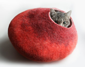 Cat Nap Cocoon / Cave / Bed / House / Vessel - Hand Felted Wool - Crisp Contemporary Design - READY TO SHIP Warm Orange Red Bubble