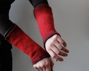 2 Red Wrist Cuffs / Arm Warmers -  Hand felted wool