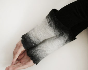 2 Black to white Wrist Cuffs/Arm Warmers --  - Hand felted wool