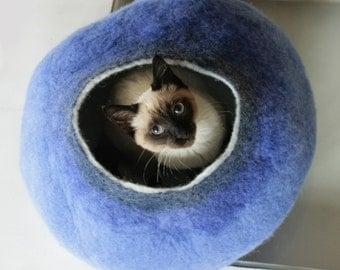 Warm Blue Bubble - Hand Felted Wool Cat Bed / Vessel - Crisp Contemporary Design