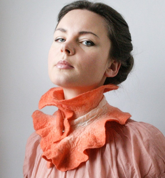 Peachy Victorian inspired Scarf Collar -- Felted Neck Piece -- made from wool OOAK