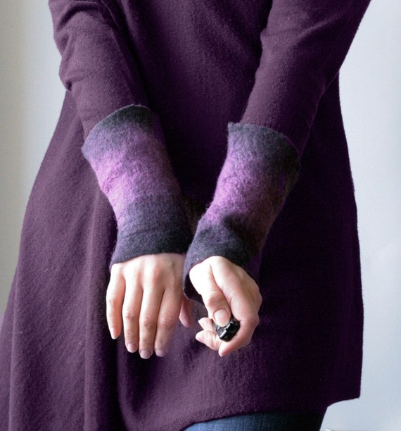 2 Palatinate Wrist Cuffs/Arm Warmers --  - Hand felted wool