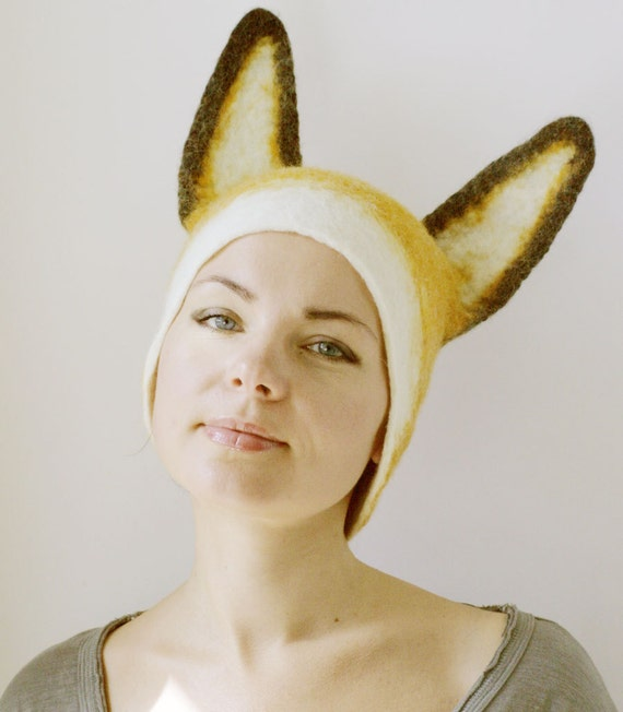 Fox Hat -- Hand Felted Wool -- Size Medium/Large