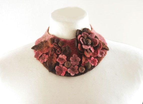 Frida Kahlo inspired Thulian pink Meadow -- Felted Neck Piece -- made from wool