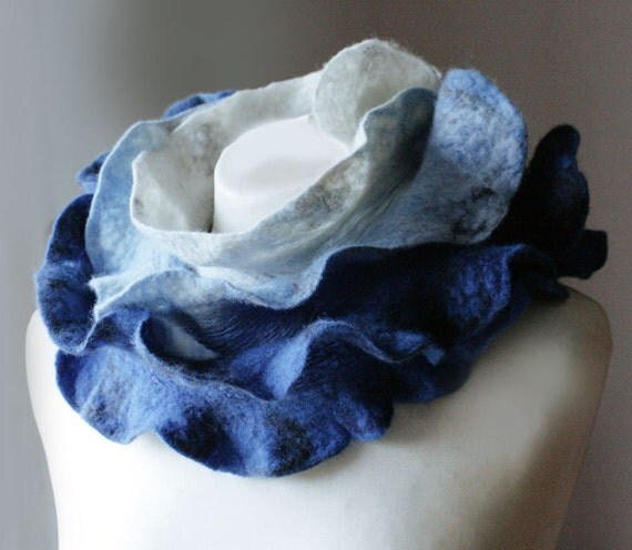 Clear Blue Sky - Hand Felted Wool - Long Scarf  - Wearable Art