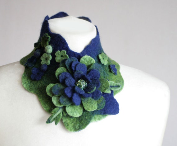 Blue Green Mermaid Scarfette -- Felted Neck Piece -- made from wool