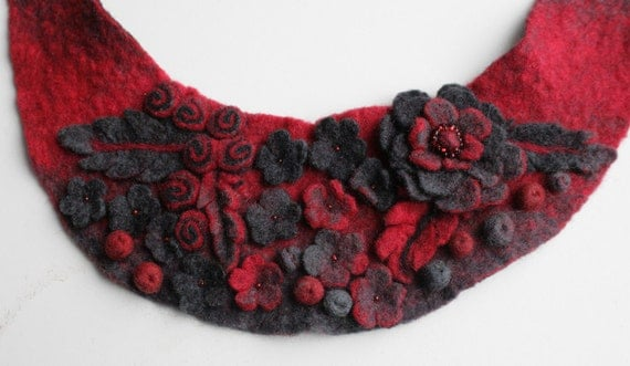 Frida Kahlo inspired Red Gray Meadow -- Felted Neck Piece -- made from wool