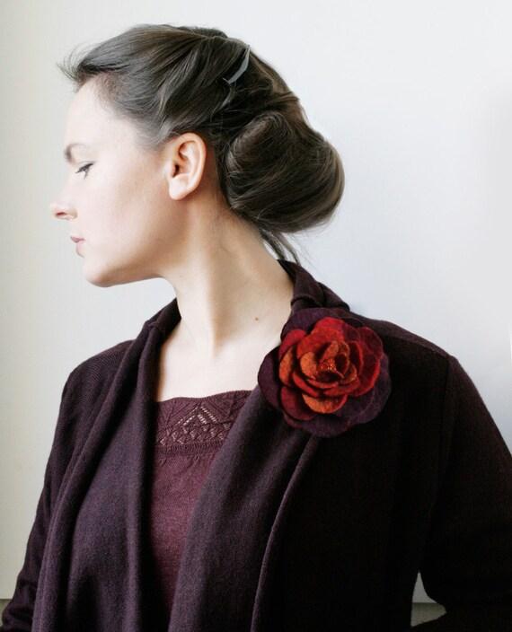 Rusty Burgundy Rose - Felt Flower Brooch -- Hand felted wool -- size Medium/Small