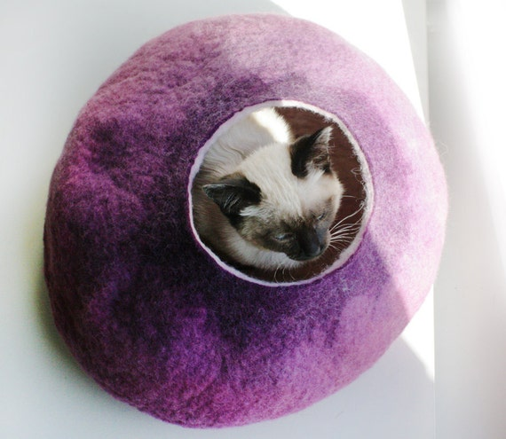 Warm Purple Bubble - Hand Felted Wool Cat Bed / Vessel - Crisp Contemporary Design