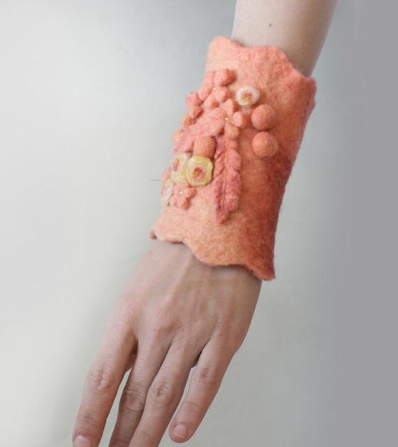 Apricot Meadow -- Felt Bangle / Wrist Cuff -- Hand felted wool -- Wearable Art