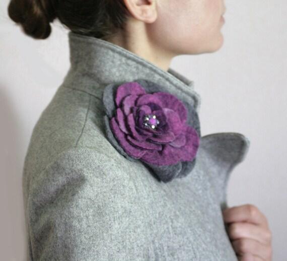 Gray Purple Rose -- Felt Flower Brooch -- Hand felted wool -- size Large