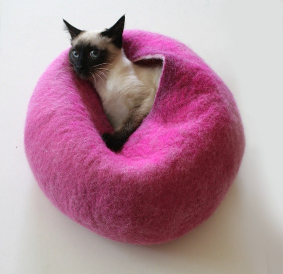Cat Nap Cocoon / Cave / Bed / House / Vessel - Hand Felted Wool - Crisp Contemporary Design - READY TO SHIP Hot Pink Bubble