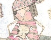 pirate print, pink,  limited edition and archival , Little miss one eye LOVED pink...16/100...8 x 8 inches