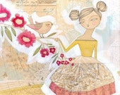 illustration of woman with singing bird - art - 8 x 10-  by cori dantini - a second limited edition archival print