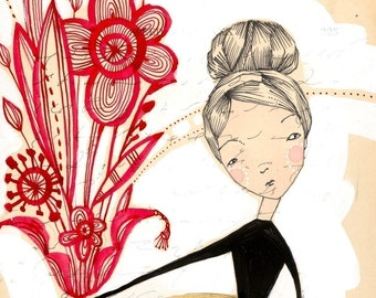 whimsical mixed media illustration of a woman holding flowers - Believe - 5 x 10 inch limited edition archival print by cori dantini