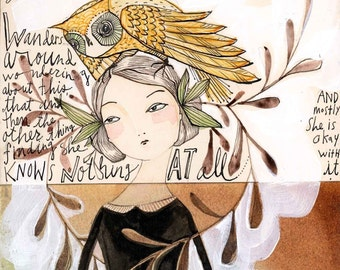 folk painting of a woman & owl-  5 x 10 inches - archival print of a mixed media watercolor painting by cori dantini