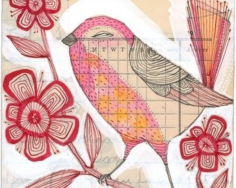 watercolor illustration of a pink bird - illustration - an 8 x 8 inch limited edition and archival print by corid