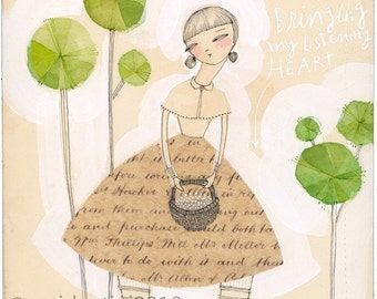 woman and basket print - friendship - 8 x 8 - archival print - limited edition - i am bringing my listening heart by cori dantini