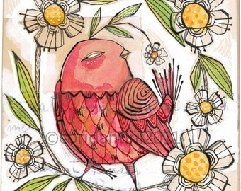 whimsical folk painting of a red bird  - 8 x 8 inch - limited edition - archival print by corid