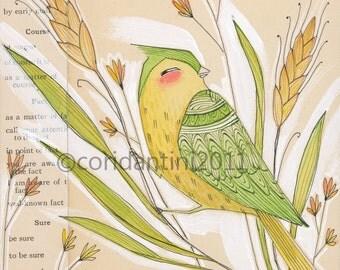 bird art- yellow bird - bird and wheat - by cori dantini - 8 x 8 limited edition archival print