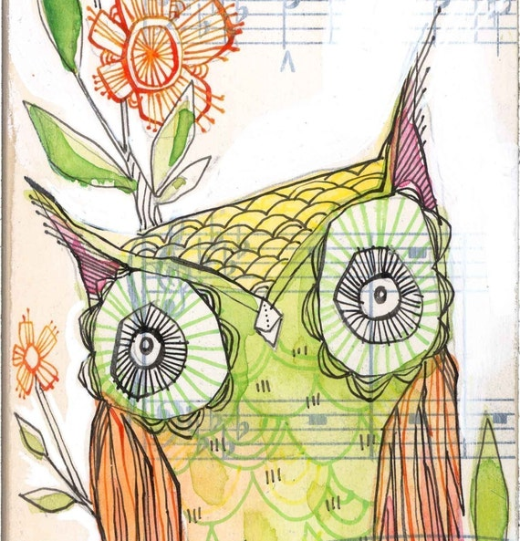 little olive...archival owl print...21/100...  5 x 10 inchs