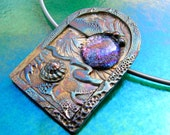 Pendant Necklace Fine Silver and Dichroic Glass Caribbean Window Moonrise, St. Lucia