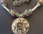 RESERVED FOR LORRAINE - Installment #2 - Final Payment -  Blue Lagoon Necklace Seashells Sterling, Fine Silver