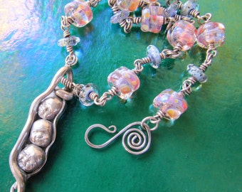 OOAK Silver Peapod Baby Head Face Necklace with Lampworked Glass Beads, Early Peas 3