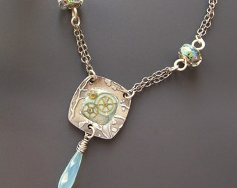 Sterling Steampunk Necklace Fine Silver, Lampwork and Chalcedony