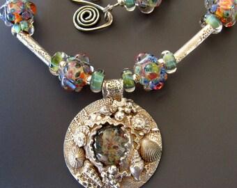 Blue Lagoon Necklace Seashells Sterling, Fine Silver and Borosilicate Glass