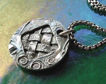 Tribal Weave Fine Silver Oxidized Woven Fine Silver Necklace